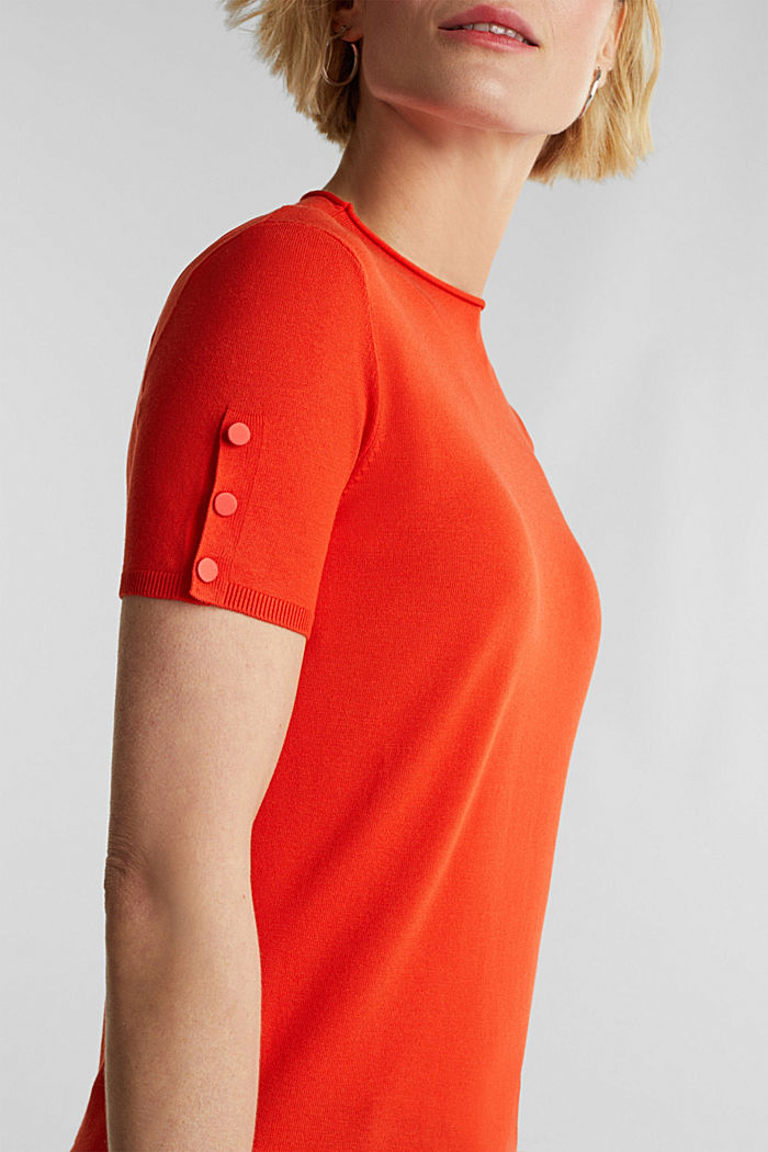 Short sleeve jumper made of LENZING™ ECOVERO™, RUST ORANGE, detail image number 2