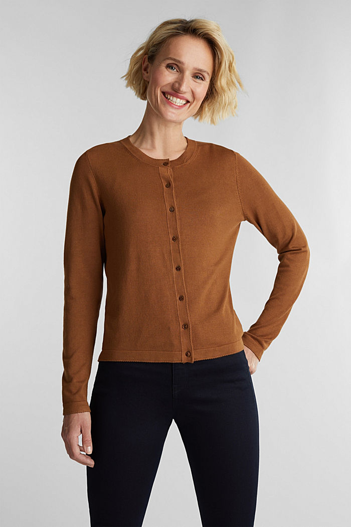 LENZING™ ECOVERO™ fine knit cardigan, TOFFEE, detail image number 0