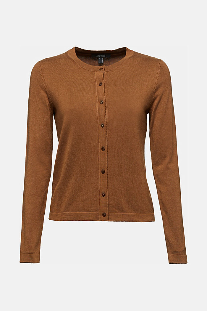 LENZING™ ECOVERO™ fine knit cardigan, TOFFEE, detail image number 5