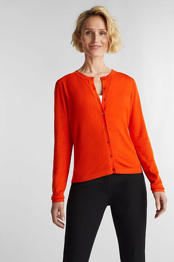 LENZING™ ECOVERO™ fine knit cardigan, RUST ORANGE, detail image number 0