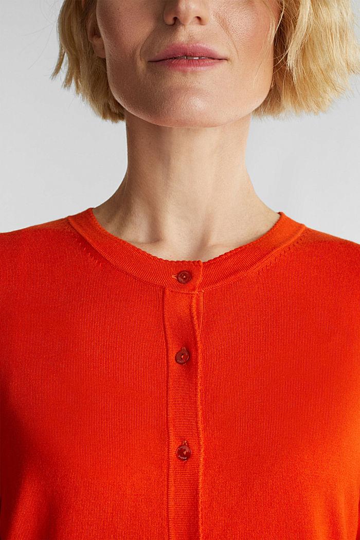 LENZING™ ECOVERO™ fine knit cardigan, RUST ORANGE, detail image number 2