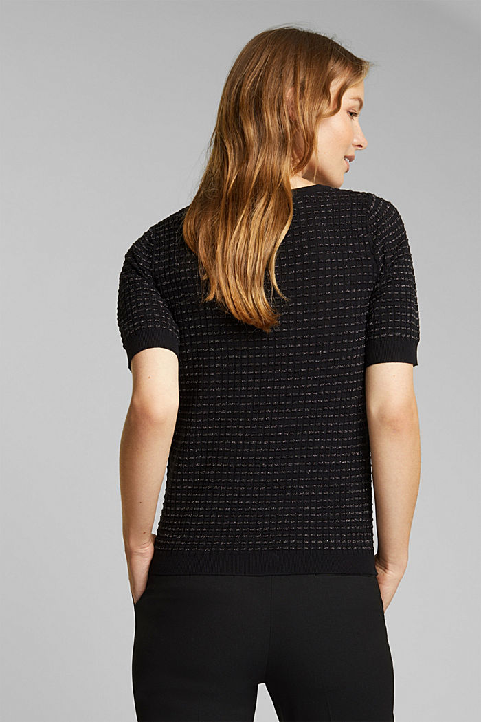 Short-sleeved jumper with a glittery texture, BLACK, detail image number 3