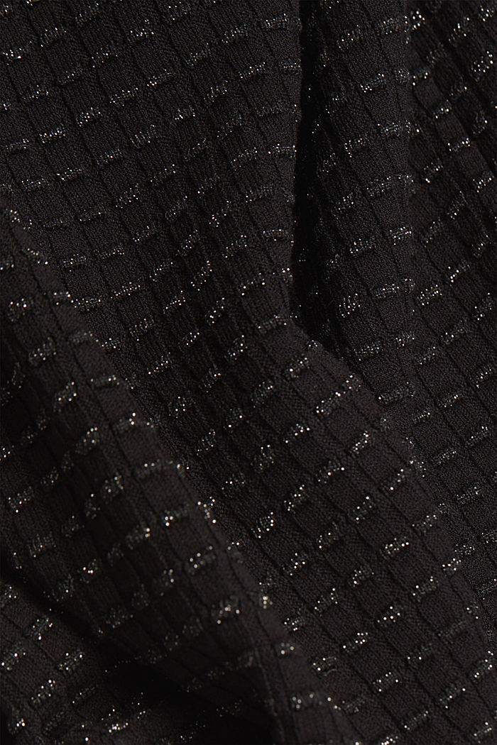 Short-sleeved jumper with a glittery texture, BLACK, detail image number 4