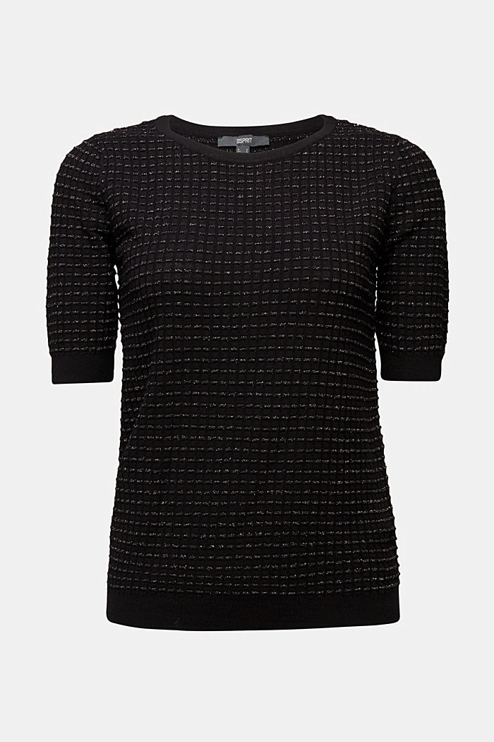 Short-sleeved jumper with a glittery texture, BLACK, detail image number 5