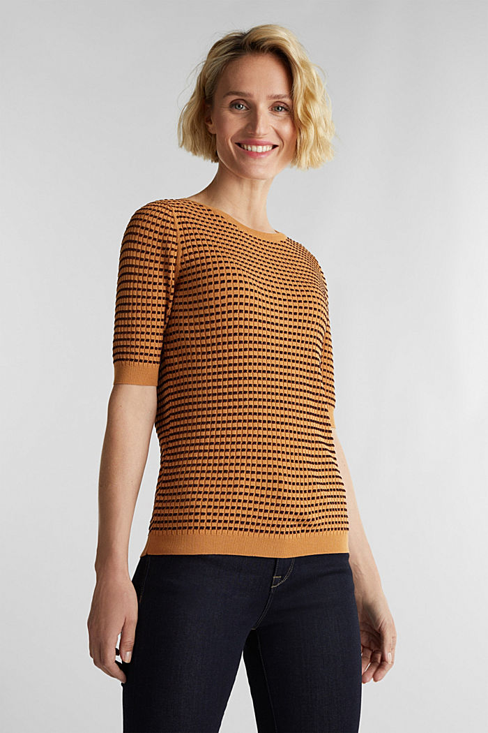 Short-sleeved jumper with a glittery texture, CAMEL, detail image number 0