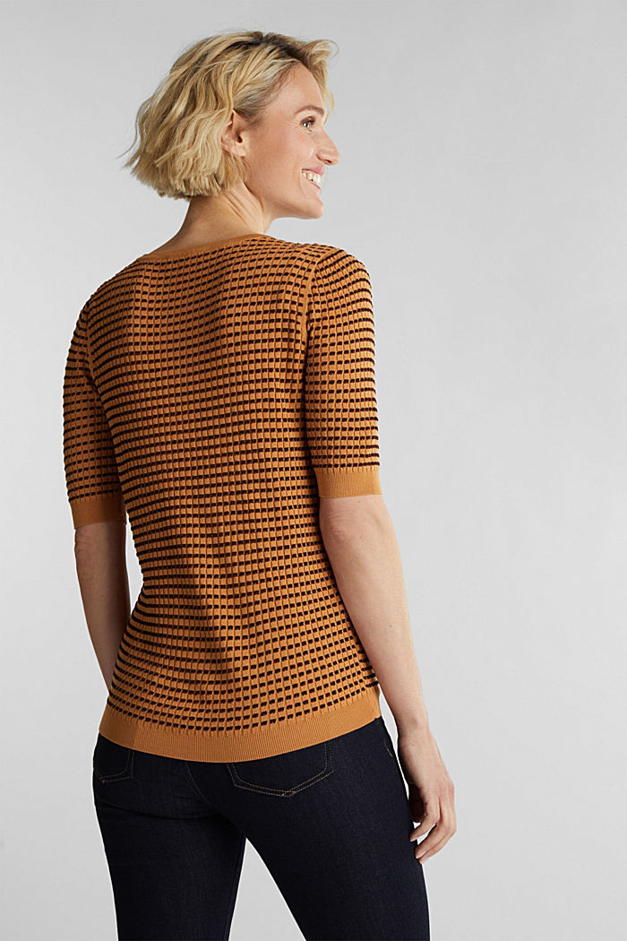 Short-sleeved jumper with a glittery texture, CAMEL, detail image number 3