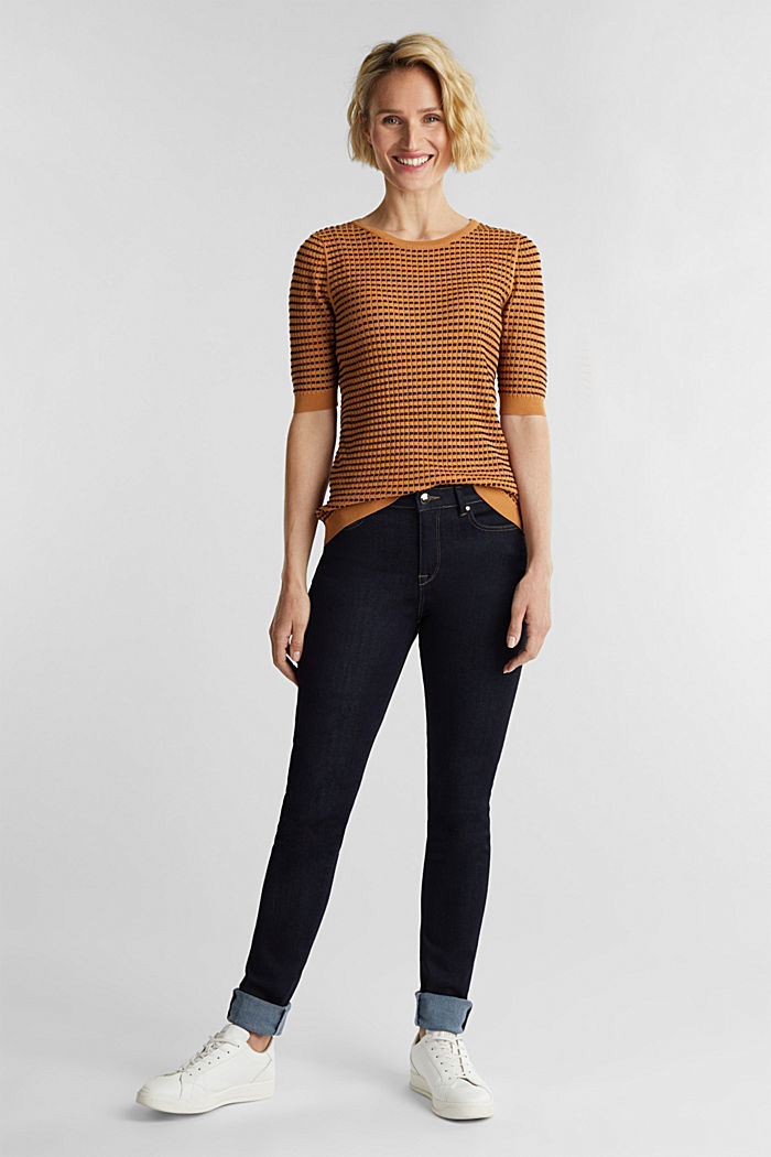 Short-sleeved jumper with a glittery texture, CAMEL, detail image number 1