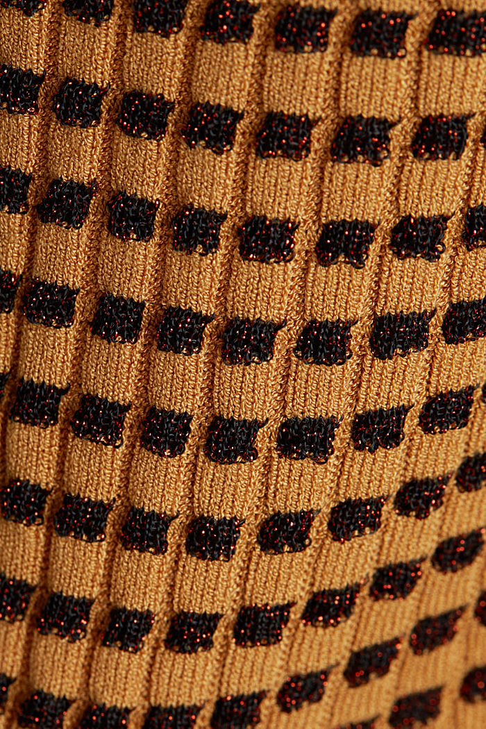 Short-sleeved jumper with a glittery texture, CAMEL, detail image number 4