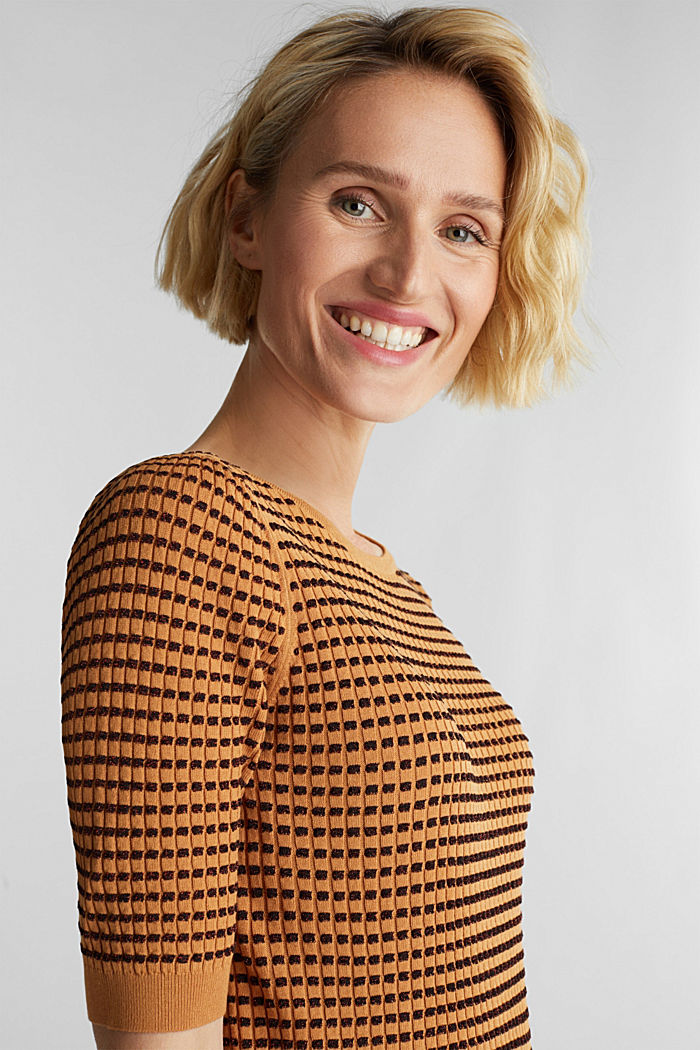 Short-sleeved jumper with a glittery texture, CAMEL, detail image number 5
