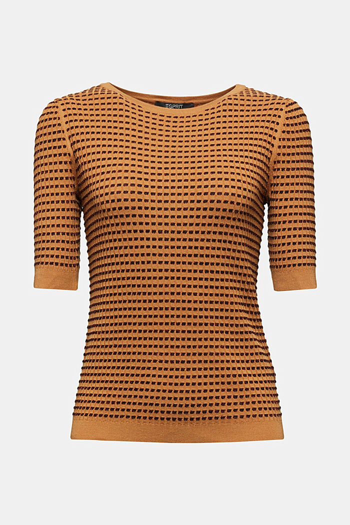 Short-sleeved jumper with a glittery texture, CAMEL, detail image number 6