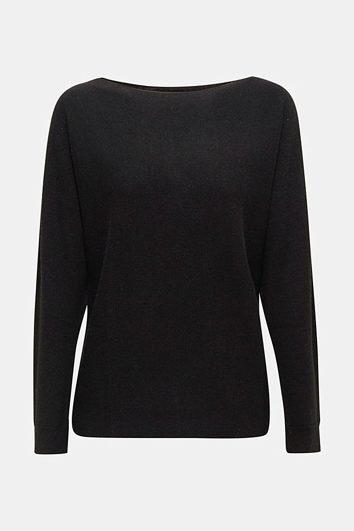 Blended lyocell: TENCEL™: Ribbed jumper, BLACK, detail image number 5