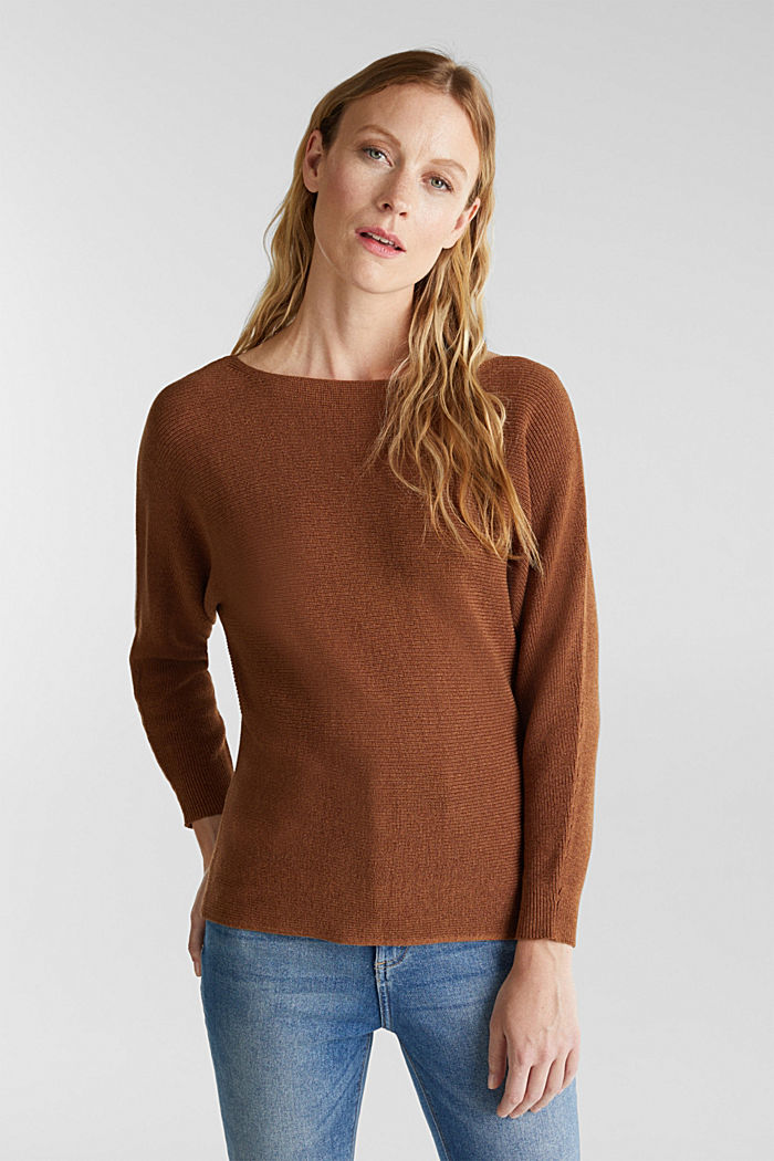 Blended lyocell: TENCEL™: Ribbed jumper, TOFFEE, detail image number 0