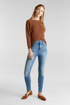 Blended lyocell: TENCEL™: Ribbed jumper, TOFFEE, detail