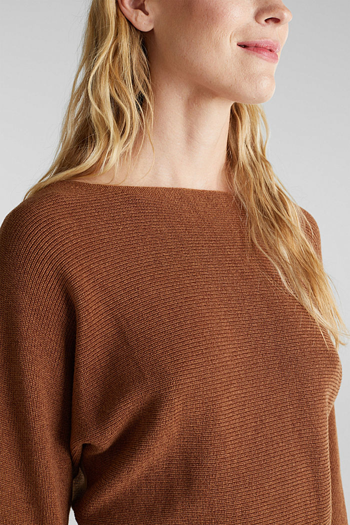 Blended lyocell: TENCEL™: Ribbed jumper, TOFFEE, detail image number 2