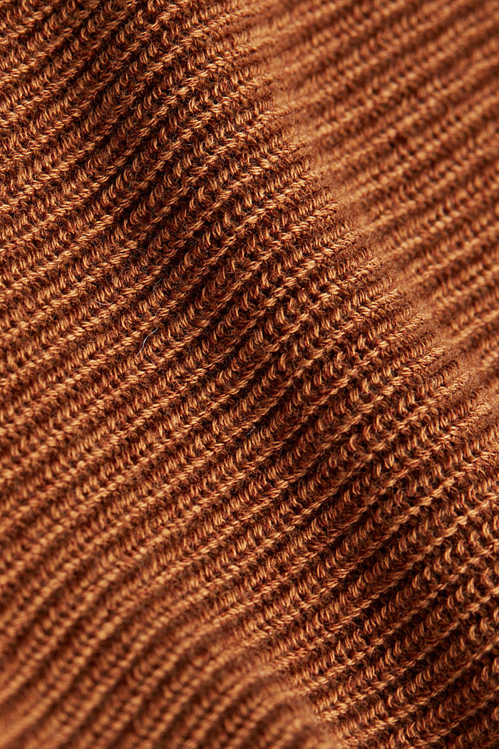 Blended lyocell: TENCEL™: Ribbed jumper, TOFFEE, detail image number 4