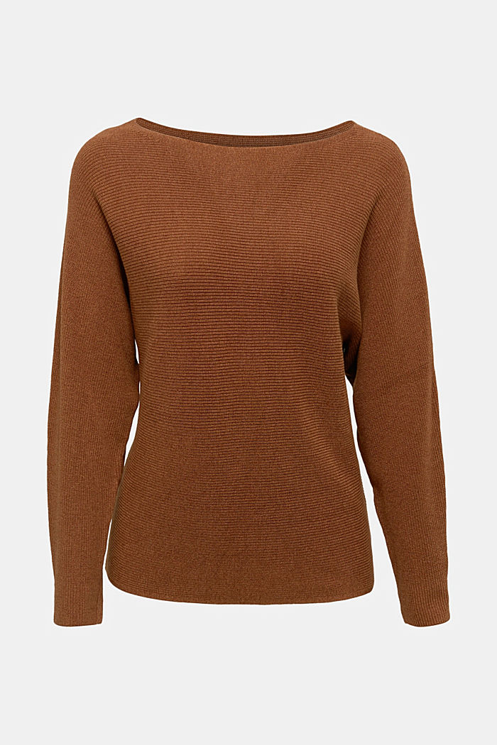 Blended lyocell: TENCEL™: Ribbed jumper, TOFFEE, overview