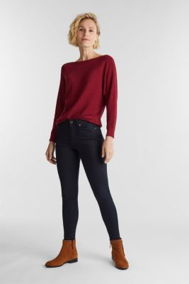Blended lyocell: TENCEL™: Ribbed jumper, BORDEAUX RED, detail