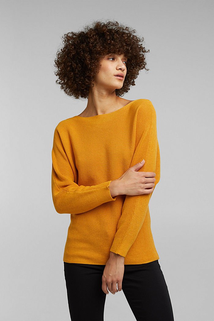 Blended lyocell: TENCEL™: Ribbed jumper, HONEY YELLOW, detail image number 0