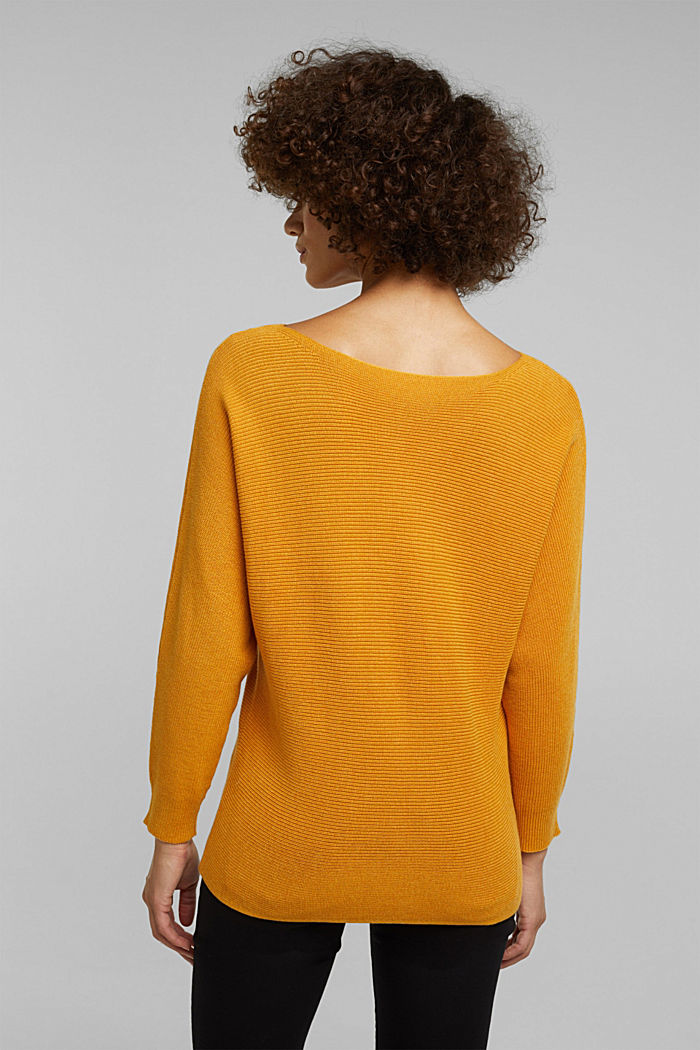 Blended lyocell: TENCEL™: Ribbed jumper, HONEY YELLOW, detail image number 3