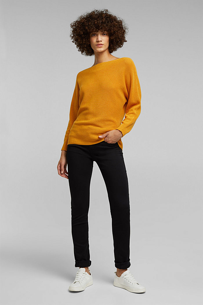 Blended lyocell: TENCEL™: Ribbed jumper, HONEY YELLOW, detail image number 5