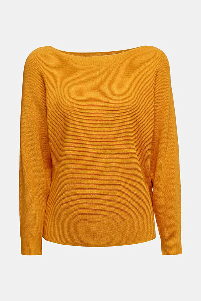 Blended lyocell: TENCEL™: Ribbed jumper, HONEY YELLOW, detail image number 6