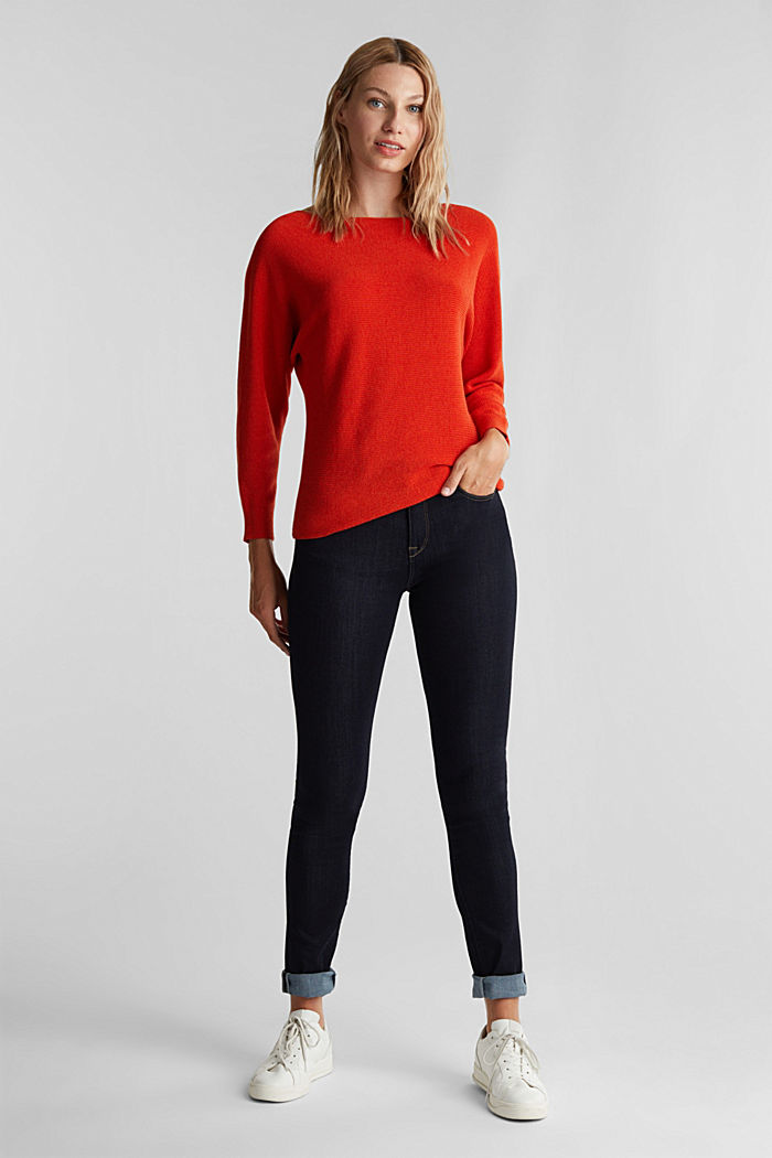 Blended lyocell: TENCEL™: Ribbed jumper