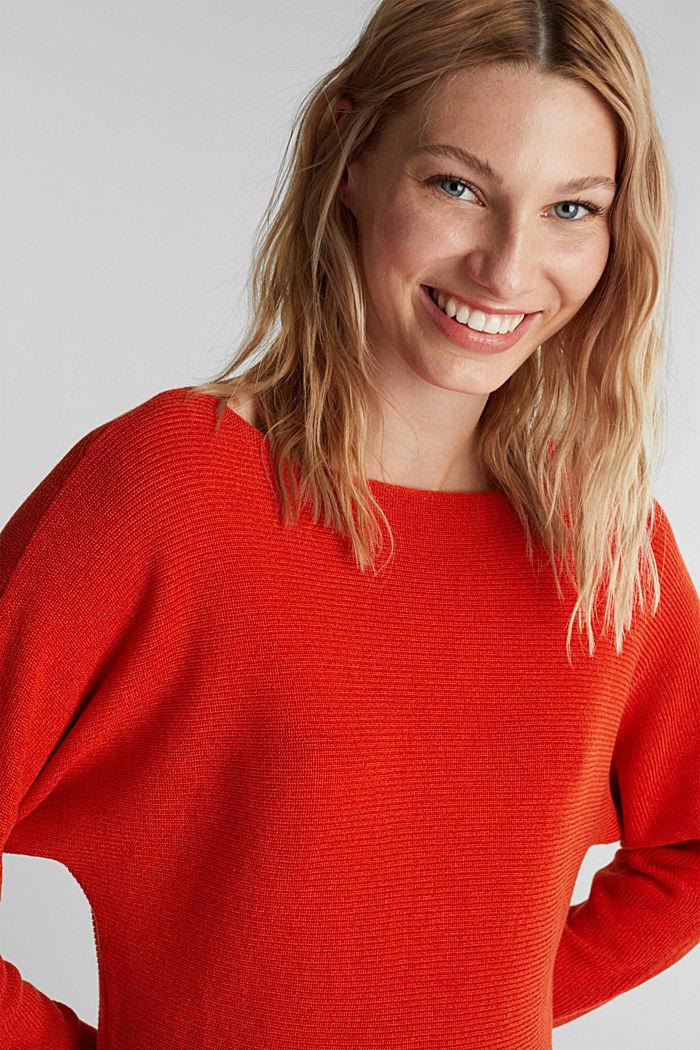 Blended lyocell: TENCEL™: Ribbed jumper, RUST ORANGE, detail image number 5