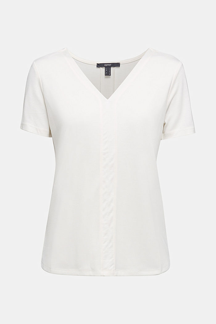 Jersey top with TENCEL™ Lyocell, OFF WHITE, detail image number 6
