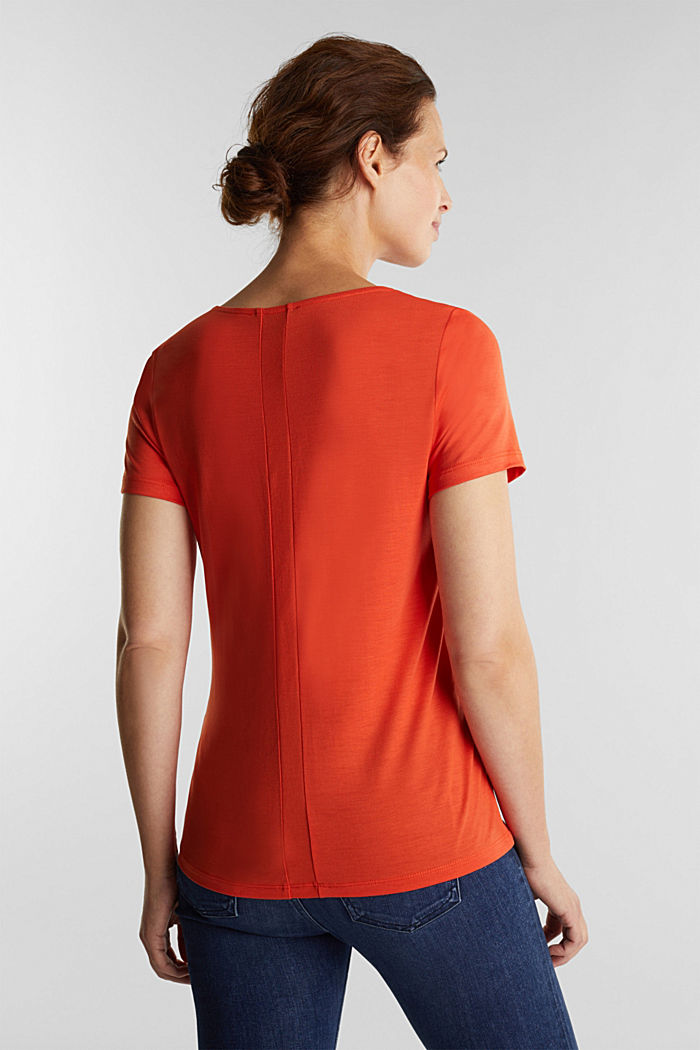 Jersey top with TENCEL™ Lyocell, RUST ORANGE, detail image number 3