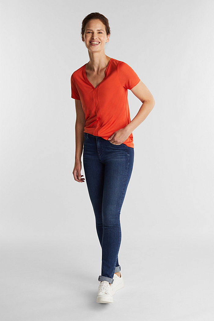 Jersey top with TENCEL™ Lyocell, RUST ORANGE, detail image number 1