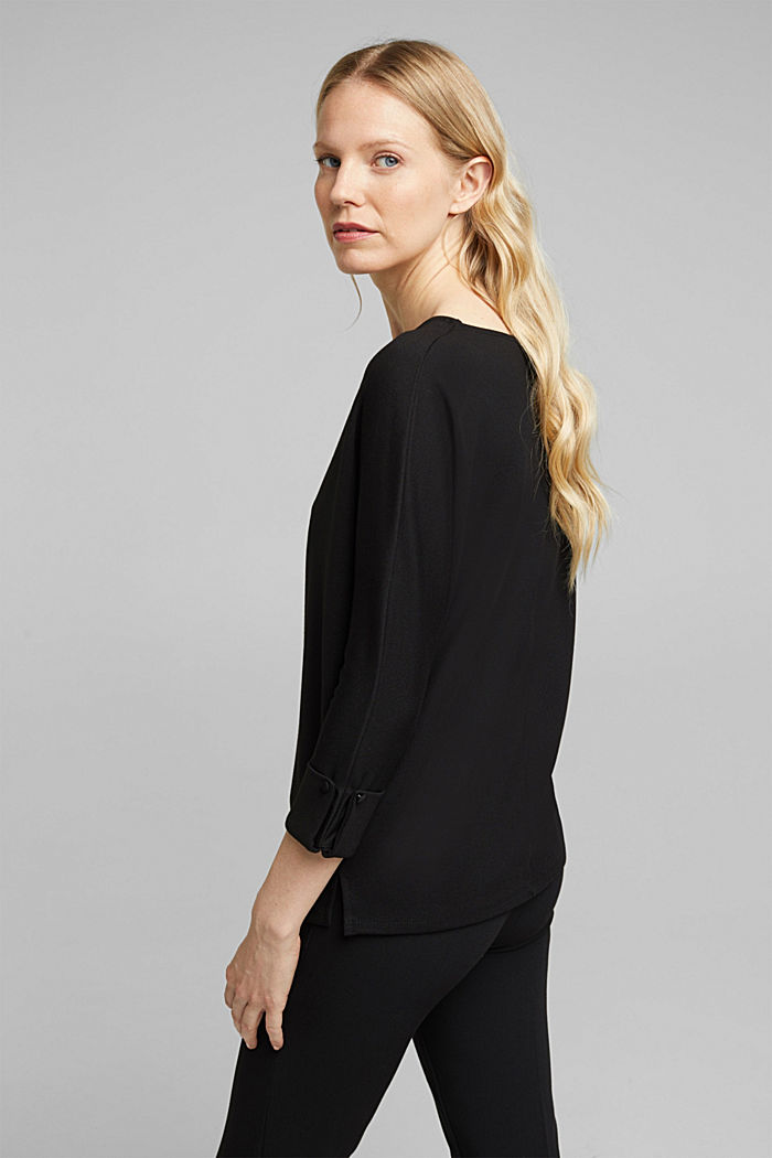 Top made of punto jersey, LENZING™ ECOVERO, BLACK, detail image number 3