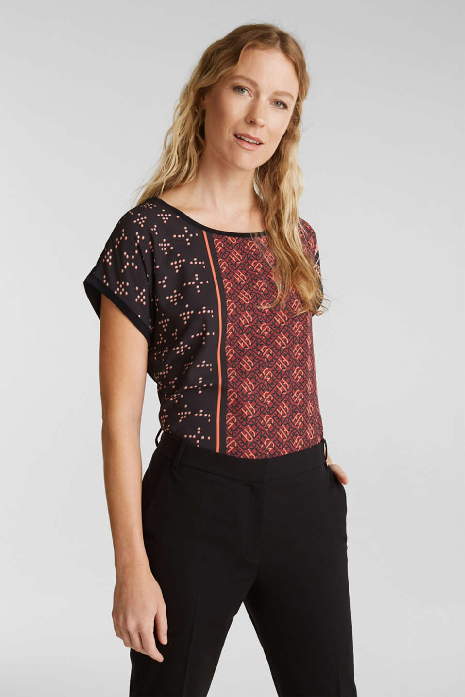 Esprit - Mix of material T-shirt in a blouse style