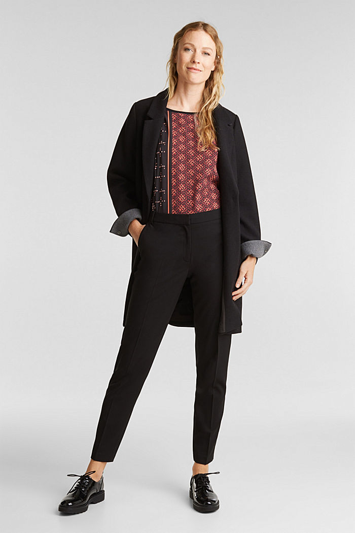Mix of material T-shirt in a blouse style, BLACK, detail image number 1