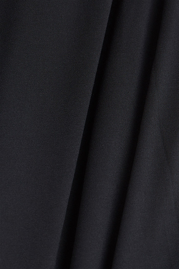 Mix of material T-shirt in a blouse style, BLACK, detail image number 4