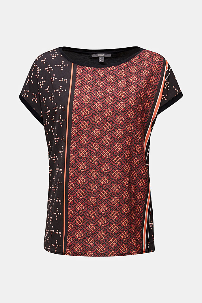 Mix of material T-shirt in a blouse style, BLACK, detail image number 7