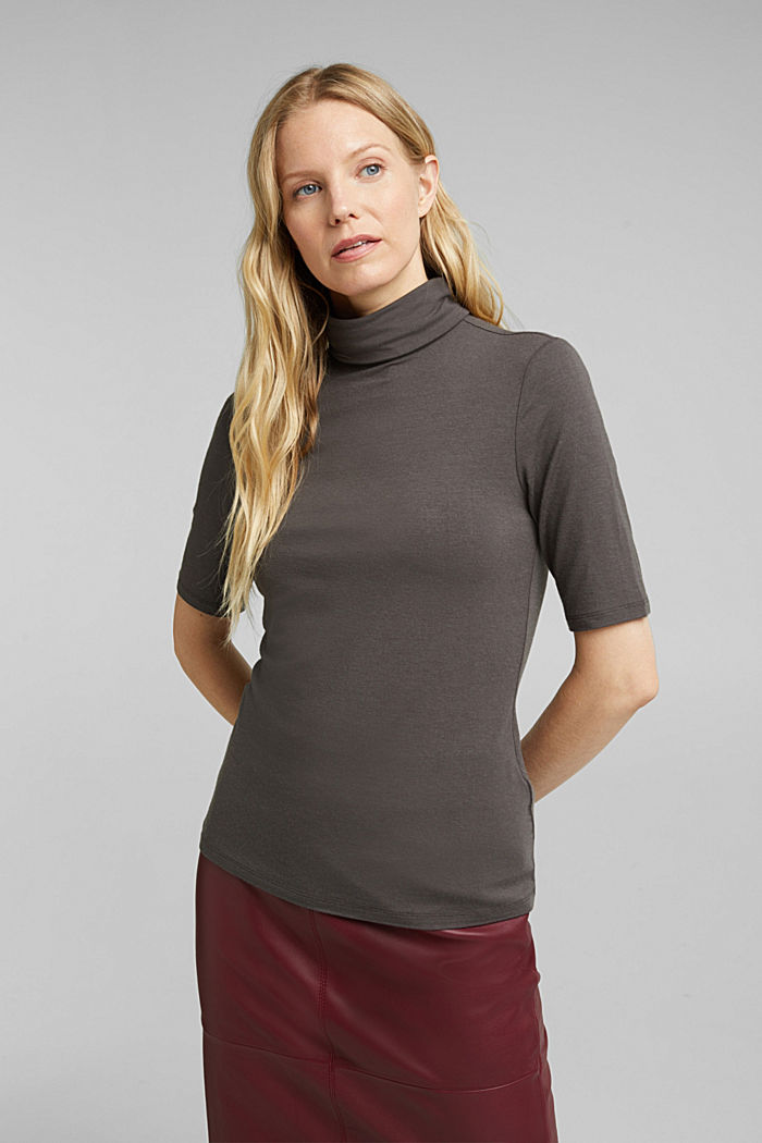 Wool blend: Polo neck shirt, LENZING™ ECOVERO™, GUNMETAL, detail image number 0