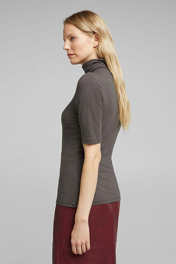 Wool blend: Polo neck shirt, LENZING™ ECOVERO™, GUNMETAL, detail image number 3