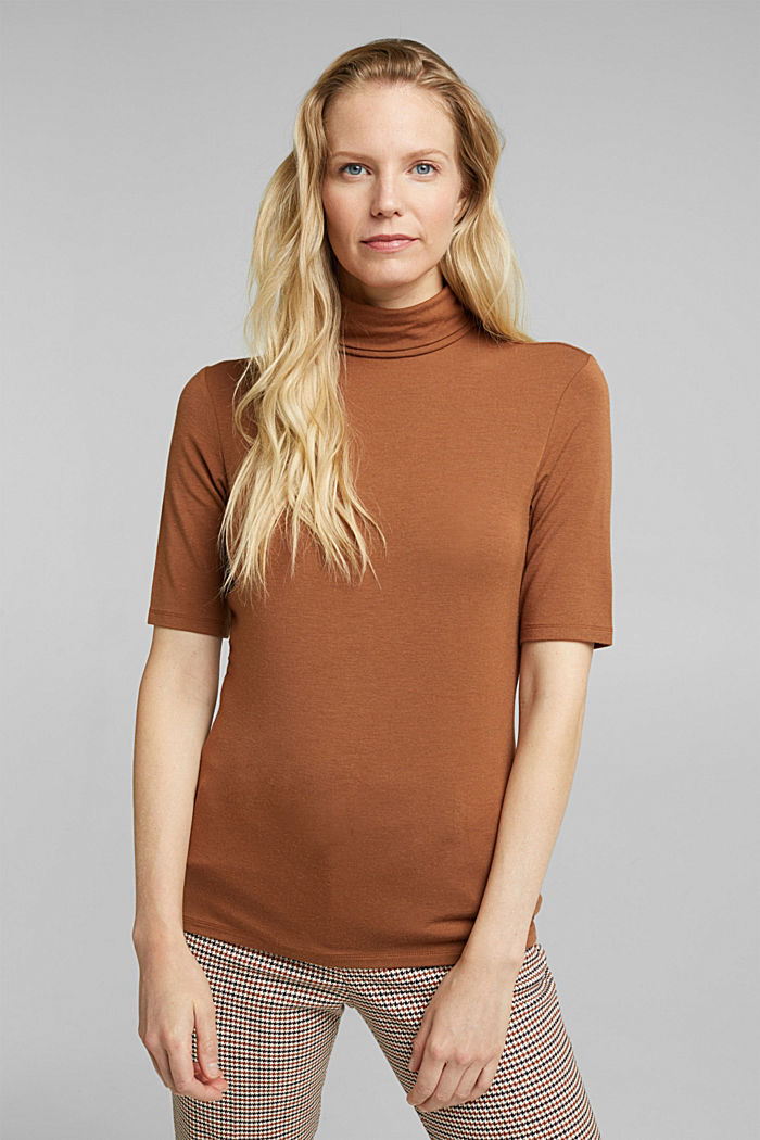Wool blend: Polo neck shirt, LENZING™ ECOVERO™, TOFFEE, detail image number 0