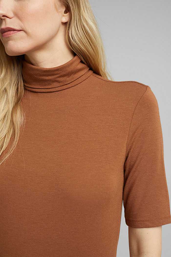 Wool blend: Polo neck shirt, LENZING™ ECOVERO™, TOFFEE, detail image number 2