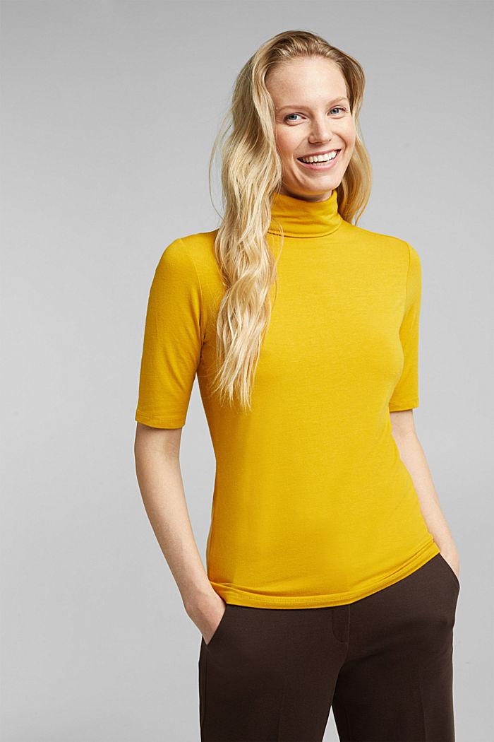 Wool blend: Polo neck shirt, LENZING™ ECOVERO™