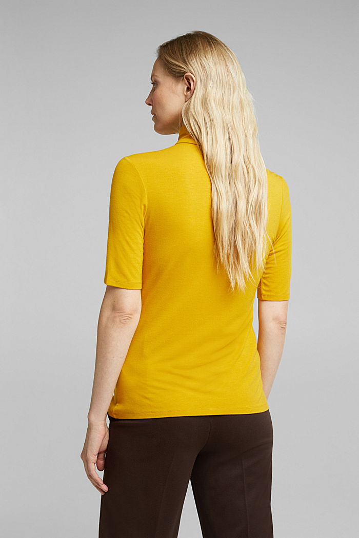 Wool blend: Polo neck shirt, LENZING™ ECOVERO™, HONEY YELLOW, detail image number 3