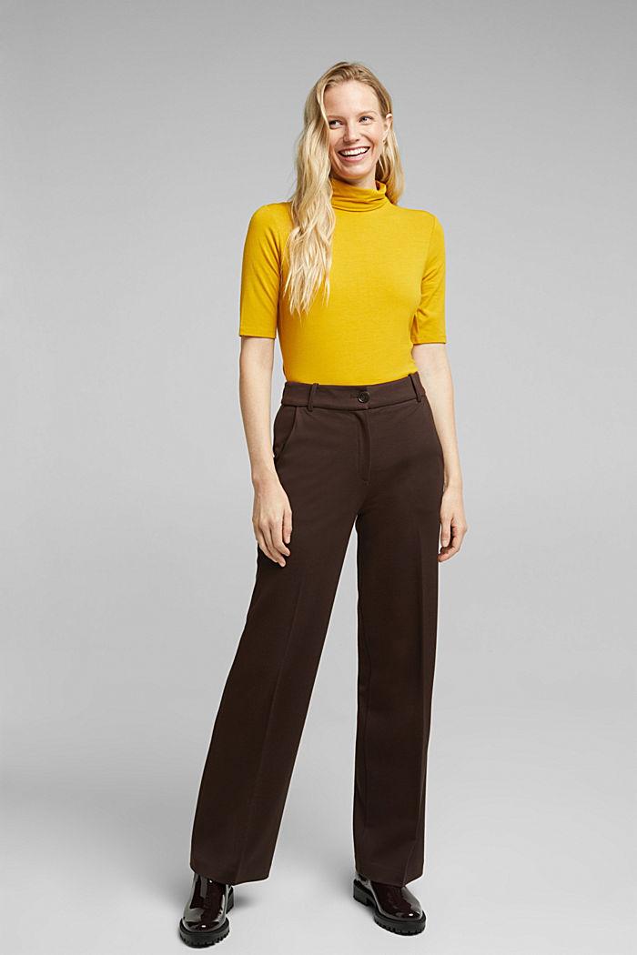 Wool blend: Polo neck shirt, LENZING™ ECOVERO™, HONEY YELLOW, detail image number 5