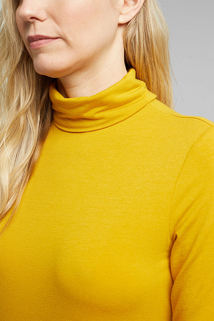 Wool blend: Polo neck shirt, LENZING™ ECOVERO™, HONEY YELLOW, detail image number 2