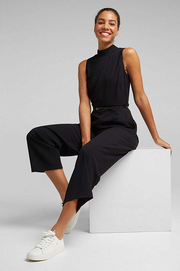 Recycled: jumpsuit with a leather belt, BLACK, detail image number 0