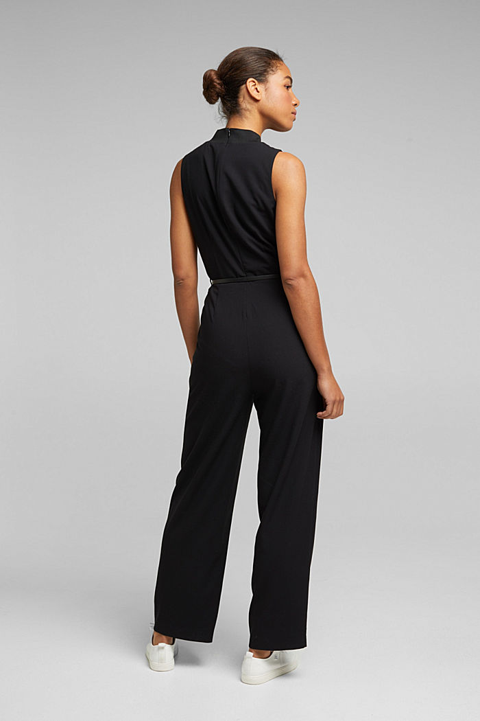 Recycled: jumpsuit with a leather belt, BLACK, detail image number 3
