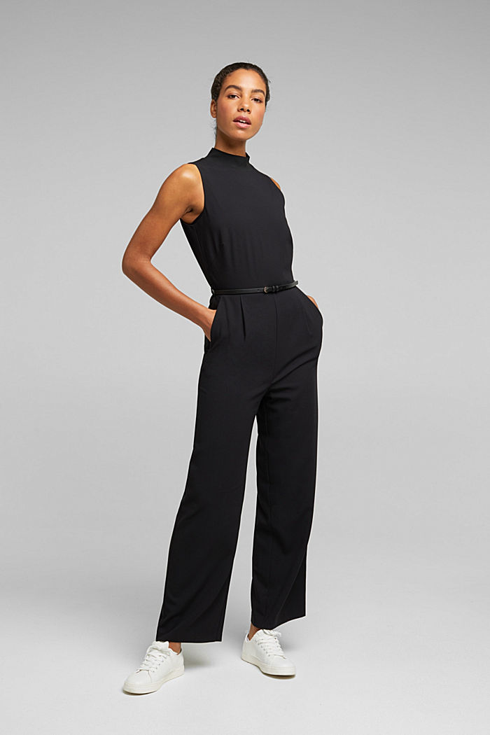 Recycled: jumpsuit with a leather belt, BLACK, detail image number 1