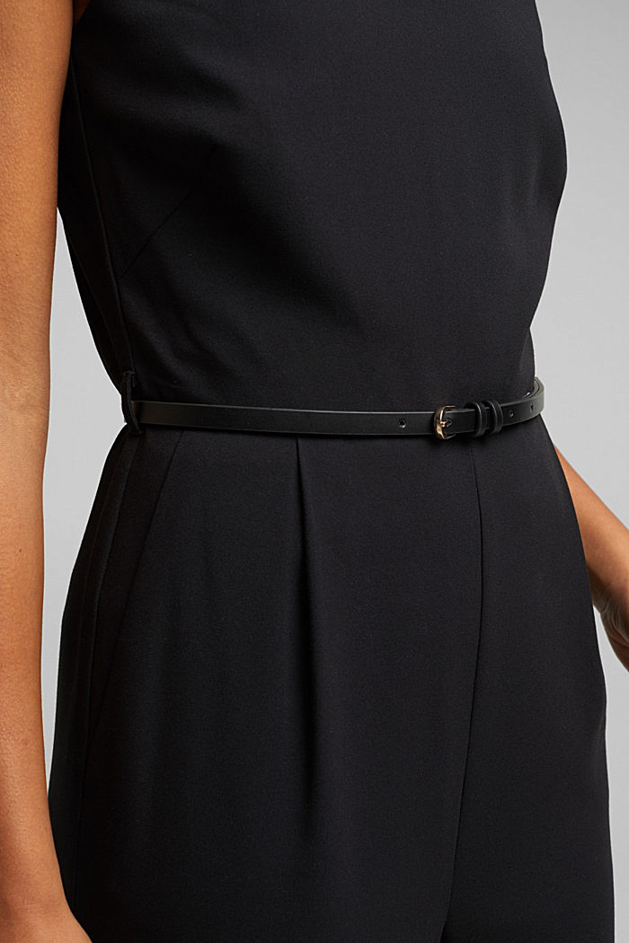 Recycled: jumpsuit with a leather belt, BLACK, detail image number 2