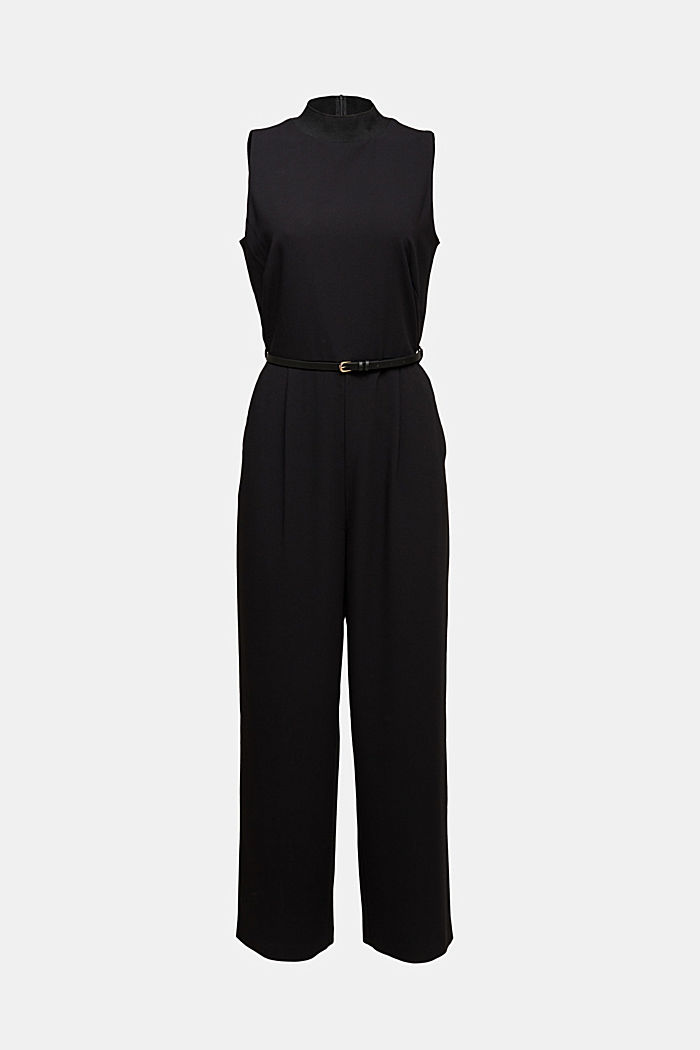 Recycled: jumpsuit with a leather belt, BLACK, detail image number 7