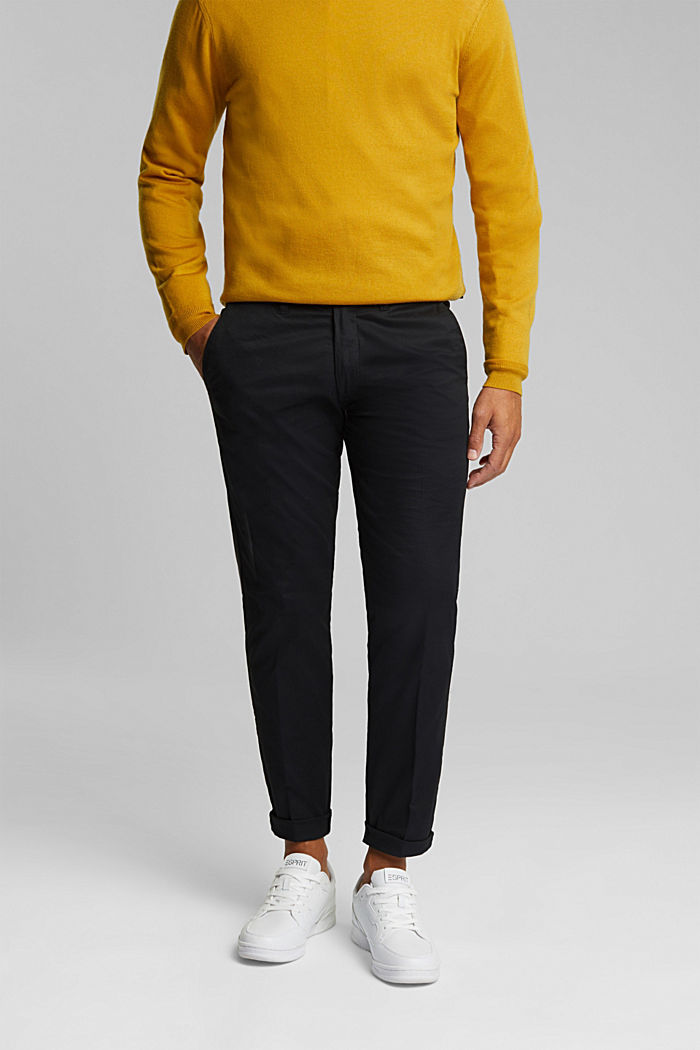 Stretch chinos with organic cotton, BLACK, detail image number 0