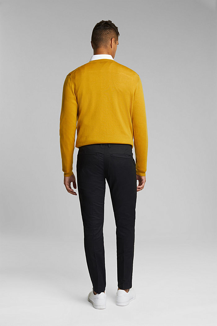 Stretch chinos with organic cotton, BLACK, detail image number 3